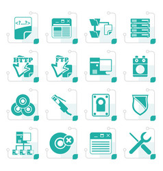Stylized server side computer icons vector