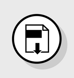 File download sign  flat black icon in vector