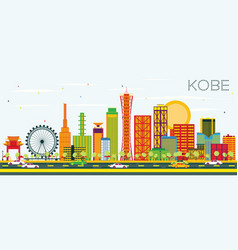 Kobe skyline with color buildings and blue sky vector