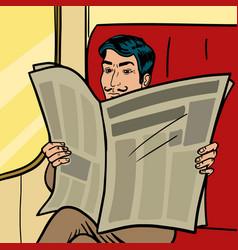Man reads newspaper in train pop art style vector