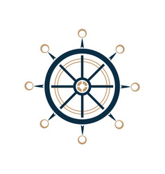 Nautical steering wheel icon ship helm vector