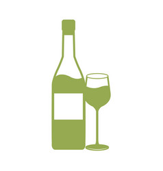 wine bottle and cup drink celebration vector image