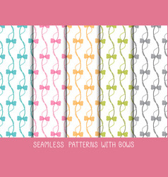 Set of seamless bows patterns vector