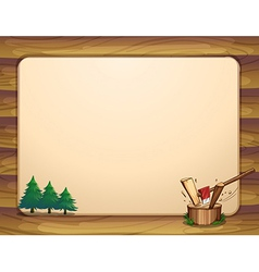 A template with pine trees and chopped woods vector