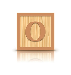 Letter o wooden alphabet block vector