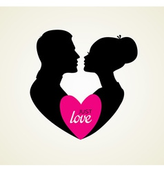 Couples silhouette kissing image vector