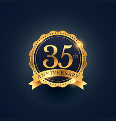 35th anniversary celebration badge label in vector