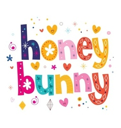 Honey bunny typography lettering design vector