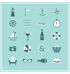 Blue Summer Naval and beach icons set vector image
