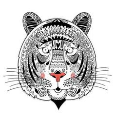 Graphic portrait ornamental tiger vector