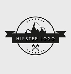 Black and white hipster logotype with mountains vector