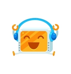 Listening to music little robot character vector