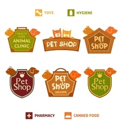 Set of logo on heraldic shield for pet shop vector