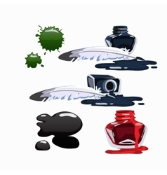 Bottled ink and fountain pen set isolated vector image