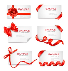 big set of cards with red gift bows and ribbons vector image