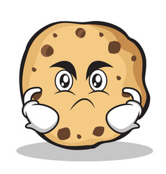 Angry face sweet cookies character cartoon vector
