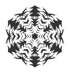 Black silhouette of a snowflake lace round vector