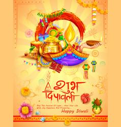 Burning diya on diwali holiday background for vector