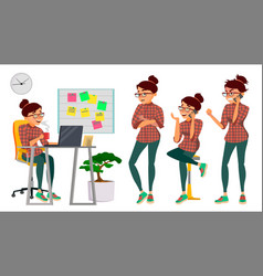Business woman lady character working female it vector