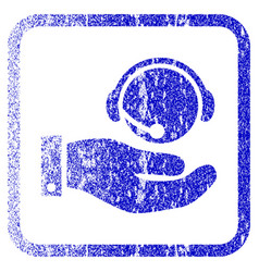 Call center service framed textured icon vector