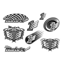 car or motor racing icons vector image vector image