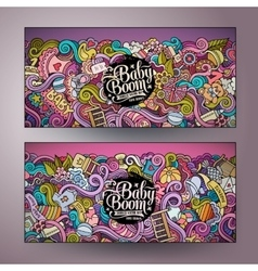 Cartoon doodles baby boom banners vector