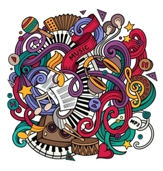 Cartoon hand-drawn doodles Musical vector image vector image