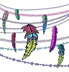 Dream catcher adorned with feathers vector image