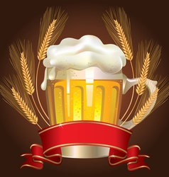 Glass of wheat beer vector