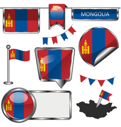 Glossy icons with flag of mongolia vector