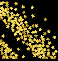 Golden confetti isolated on black background vector