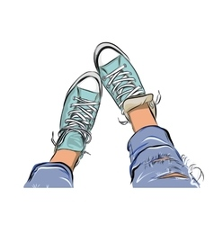hand drawn sketch gym shoes EPS vector image