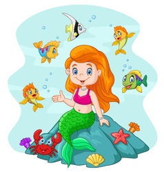 Happy little mermaid sitting on the rock surround vector