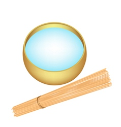 Holy water in alms bowl with wooden stick vector