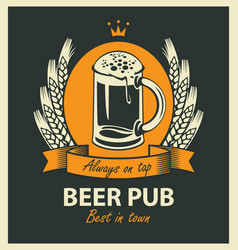 label for beer pub with beer glass and wreath vector image