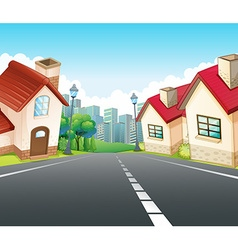 Neighborhood scene with many houses along the road vector image vector image