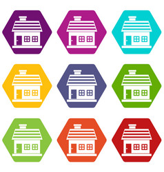 one-storey house icon set color hexahedron vector image