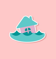 Paper sticker on stylish background of flood house vector