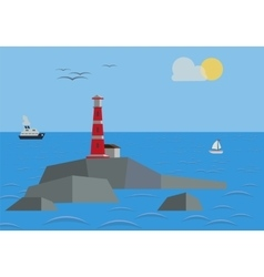 Rock In The Sea With Lighthouse vector image vector image