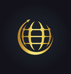 Round arrow globe technology gold logo vector
