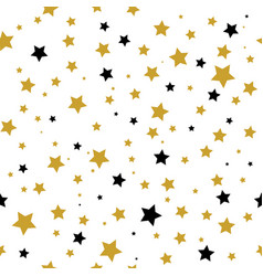 seamless pattern with gold and black stars vector image