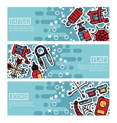 set of horizontal banners about tattoo vector image