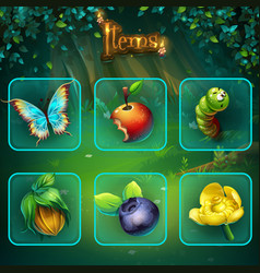 shadowy forest gui set items buttons and icon vector image vector image