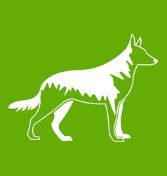 Shepherd dog icon green vector