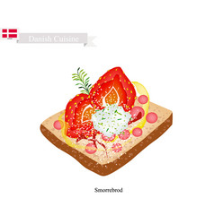 smorrebrod with strawberry the national dish of d vector image vector image