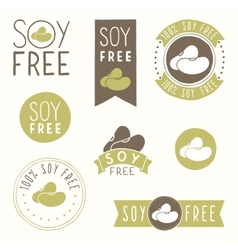 Soy free hand drawn labels vector image vector image