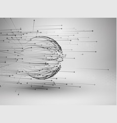 sphere with connected lines and dots wireframe vector image vector image