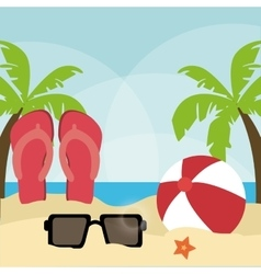 Summer design sandals and glasses icon graphic vector image