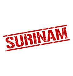 Surinam red square stamp vector