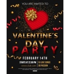 Valentines day party flyer with red heart and gold vector